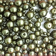 200 Assorted Sizes 4mm 6mm 8mm 10mm Glass Pearl Beads Olivine